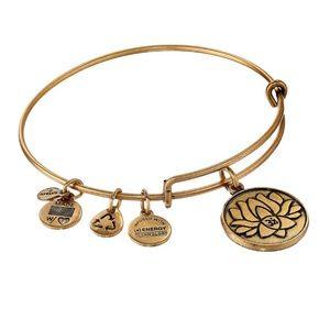 Alex and Ani Gold Lotus Charm Bangle Bracelet